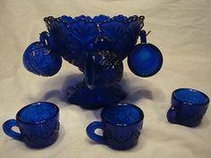 Cobalt Blue Carnival Glass Mini Child's Punch Bowl Set Vintage 6 Cups Hooks | eBay Childrens Tea Sets, Bleu Cobalt, Blue Carnival Glass, Punch Bowl Set, Cobalt Glass, Himmelblau, Fenton Glass, Blue Rooms, Antique Glass