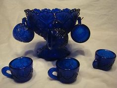 Cobalt Blue Carnival Glass Mini Child's Punch Bowl Set Vintage 6 Cups Hooks | eBay
