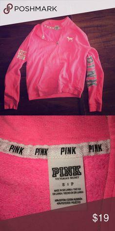 VICTORIA SECRET PINK boyfriend crew neck pullover VS PINK hot pink pullover PINK Victoria's Secret Sweaters Crew & Scoop Necks