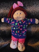 Cabbage Patch Kid Vintage 1982 Girl/Cherries Jacket/Jeans/Sketchers/Free Ship!