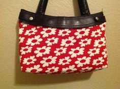Thirty One red with white flowers skirt purse by ShellyJayneCovers, $10.00