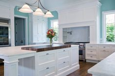 It really doesn't get better than this gallery if you like white kitchens. This is our meticulously selected collection of the very best white kitchen designs out of thousands of submitted designs. White Kitchen Interior, Teal Kitchen, Interior Design Kitchen, Kitchen Designs, Blue Kitchen Countertops, Kitchen Countertop Options, Kitchen Ideas, Kitchen Decor, Marble Countertops