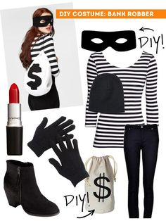 Halloween on the cheap. Here's 5 great halloween costume ideas you can pull together from your closet or thrift shop. Halloween on the cheap. Here's 5 great halloween costume ideas you can pull together from your closet or thrift shop. Meme Costume, Cute Costumes, Adult Costumes, Burglar Costume, Costumes For Work, Last Minute Halloween Costumes, Halloween Diy, Diy Womens Halloween Costumes, Easy Costumes Women
