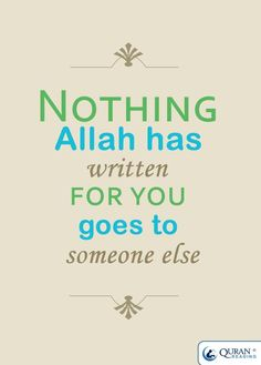 If it is meant for you, then it will be for you! Alhamdulillah