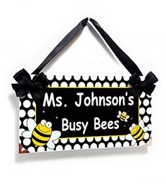 Amazon.com : Personalized Busy Bees Theme Teacher Name Classroom Door Sign - Bumble Bee Yellow Decor : Office Products