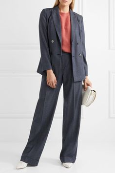 Max Mara - Double-breasted Wool-twill Blazer - Navy - UK16