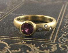 18k Yellow ruby and diamond ring by KPJJewelry on Etsy