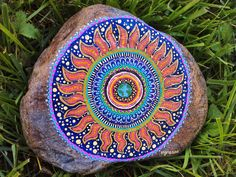 painted rocks | Every day is Earth Day Hand Painted Mandala Art on River Rock