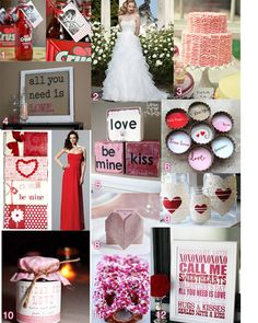 """Are you having a romance themed wedding? Or a red, pink and white wedding? Here is a """"Love"""" themed inspiration board for everyone! You can recreate some of these wedding ideas, simply change the colors to match your wedding, or have fun creating"""
