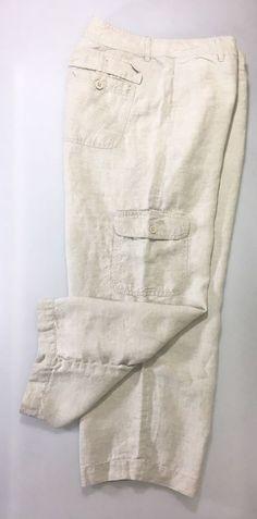 LIZ CLAIBORNE Womens Khaki LINEN Pants Size 12 / Cargo Cropped Trouser #LizClaiborne #Cargo