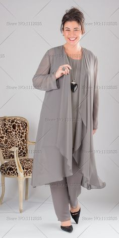 plus size Elegant Gray Chiffon mother of the bride dresses pants suit with long top Plus size