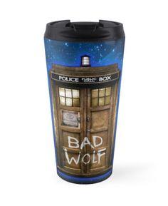 Old Rustic wood Phone box with Bad Wolf typograph Travel Mugs #travelmugs #mugs #tardis #doctorwho #policecallbox #bluephonebooth #phonebooth #doctorwho #tardisbadwolf #britishflag #unionjack