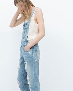 ZARA - WOMAN - RIPPED DENIM DUNGAREES