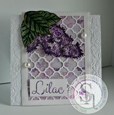 Gaynor Greaves - Sheena Douglass Perfect Partners Country Lilac stamp & die - Watercolour card - Sara Davies' Floral Delight embossing folder, and Ornate Trellis die - Spectrum Noir Vintage Sparkle pens: Fig - Onyx Black - Spun Gold - Sage #spectrumnoir #crafterscompanion