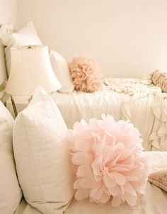 Bed Pom Poms ~ using tulle and same method used for making tissue paper flowers.So cute!