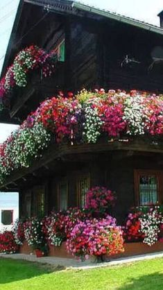 Swiss chalets always look lovely with their flower balconies Garden Windows, Balcony Garden, Beautiful World, Beautiful Gardens, Places Around The World, Around The Worlds, Wonderful Places, Beautiful Places, Balcony Flowers