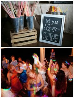 glow sticks ---- let your love shine - galvanized cans Wedding Send Off, Wedding Exits, Wedding Night, Wedding Reception, Our Wedding, Dream Wedding, Reception Ideas, 2015 Wedding Trends, Wedding 2015