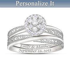Love's Embrace Personalized Diamond Bridal Ring Set