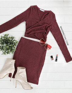 Knit Sleeved Wrap Top & Midi Skirt Set DARK MAUVE