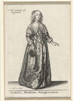Wenceslaus Hollar | Mercatoris Londinensis Filia, Wenceslaus Hollar, 1643 | Koopmansdochter uit Londen, in profiel naar rechts, met haar dat strak naar achteren is gekamd en op het achterhoofd eindigt in een dubbele ronde vlecht. Vanaf de wenkbrauwen en rond de nek hangt het onderste haar gekruld tot op de schouders. Japon bestaande uit nauwsluitend rijglijf met lage rechte halsuitsnijding en middenvoor eindigend in een punt, met kort schootje, ellebooglange rechte mouwen met smalle…