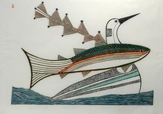 The Fish Takes Flight (1983) by Pudlo Pudlat, Inuit artist (CD1983-35)