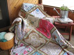 A handkerchief Quilt made with 20 vintage hankies!