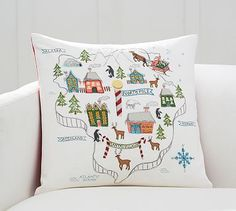 North Pole Map Embroidered Pillow Cover #potterybarn