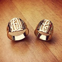 Cut Out Initial Monogram Rings in 14k Gold