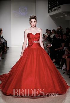 """Brides.com: . Style 250, """"Snow White"""" strapless red satin and tulle ball gown wedding dress with a sweetheart neckline and crystal beaded floral sash, Alfred Angelo"""