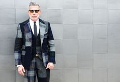 Shop this look for $193:  http://lookastic.com/men/looks/blazer-and-dress-pants-and-tie-and-dress-shirt-and-vest/542  — Grey Plaid Blazer  — Grey Plaid Dress Pants  — Charcoal Tie  — White Dress Shirt  — Grey Plaid Waistcoat