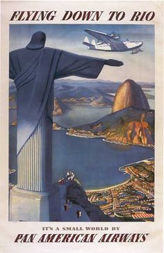 """Vintage Pan AM """"Flying down to Rio """" Travel Poster"""