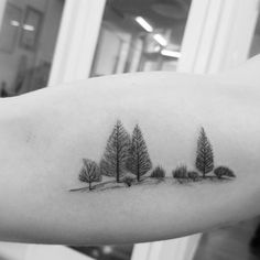 blackwork fineline micro Alpine Tree tattoo by Alexandyr Valentine