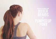 Workout hair idea 2: boxer braids + a pumped up pony.