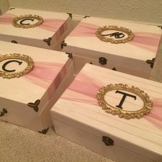 Will You Be My Bridesmaid boxes - ivory, gold, pink, mauve DIY
