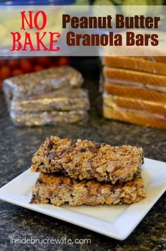 No Bake Peanut Butter Granola Bars... scroll down to the bottom. There are other good ideas for healthy snacks