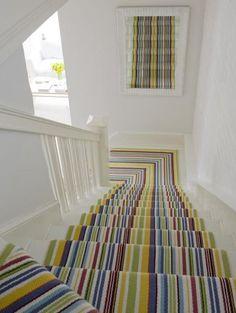 White & colorful stripes.  Love the Dash & Albert #rug! @Allison House & Home #interiors