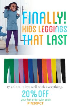 Primary's best-selling leggings in super soft stretch cotton are an everyday go-to that washes beautifully wear after wear! Under tunics, skirts, and dresses in two styles, regular and capri, and up to 17 collectible colors, there's a legging for every outfit and every day of the week! New friends get 20% off their first order with code PIN20PCT and free shipping always!