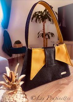 Sac Ava en noir pailleté et jaune cousu par Laeticia - Patron Sacôtin