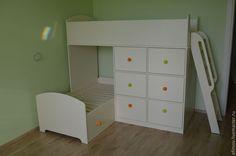 Кроватка двухъярусная - белый,кровать детская,двухярусная кровать,детская мебель Bunk Beds, Kids Room, Loft, Cool Stuff, Furniture, Rooms, Home Decor, Baby, Ideas