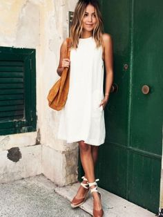 Spring 2017. I love everything about this! Trompette dress. White sleeve dress. Neutral espadrilles. Stitch fix 2017! White party dress