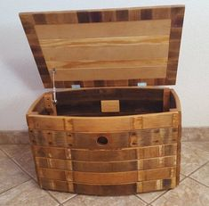 Wine Barrel Storage Chest hope chest | Etsy Barrel Projects, Wood Shop Projects, Wood Barrel Ideas, Crate And Barrel, Wine Barrel Furniture, Pallet Furniture, Rustic Furniture, Vintage Furniture, Wine Barrel Crafts