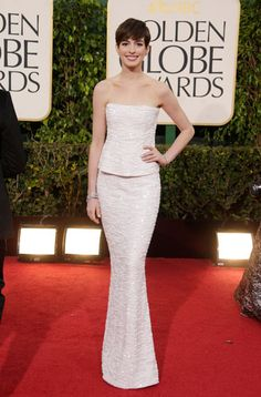 """Chanel! To quote my mom, """"That would make a handsome wedding dress."""" I love it either way. Golden Globes Red Carpet via Harper's BAZAAR."""