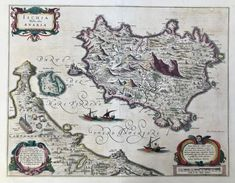 Maps, Italy, Ischia, Bleau – Philographikon Antique Maps and Prints House Map, Cornelius, Antique Maps, Hand Coloring, Vintage World Maps, Italy, Antiques, Prints, Cartography