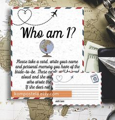 Travel Bridal shower game Who am I Travel themed Memory bridal shower game printable Travel theme printable My Favorite Memory with Bride