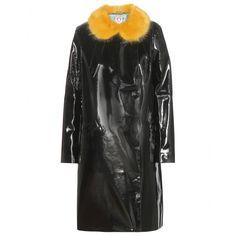 Shrimps - Hokus faux patent leather fur-trimmed coat - mytheresa.com