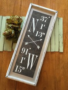 This is a gorgeous personalized home coordinates sign.