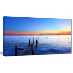 """DesignArt 'Summer Sea with Wooden Pier' Photographic Print on Wrapped Canvas Size: 20"""" H x 40"""" W x 1"""" D"""