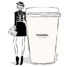 "Megan Hess illustration: ""On some Monday's, only a CHANEL will do. Coco Chino anyone??...."""