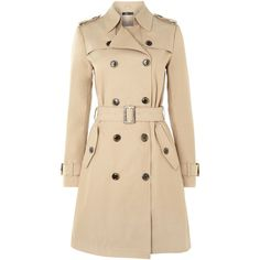 Hallhuber Classic trench coat ($110) ❤ liked on Polyvore featuring outerwear, coats, jackets, tops, coats & jackets, beige, trench coat, cotton trench coat, beige coat and cotton coat
