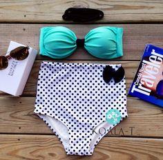 Mint Polka High Waist Bikini by KoalaTFashion on Etsy, $44.99
